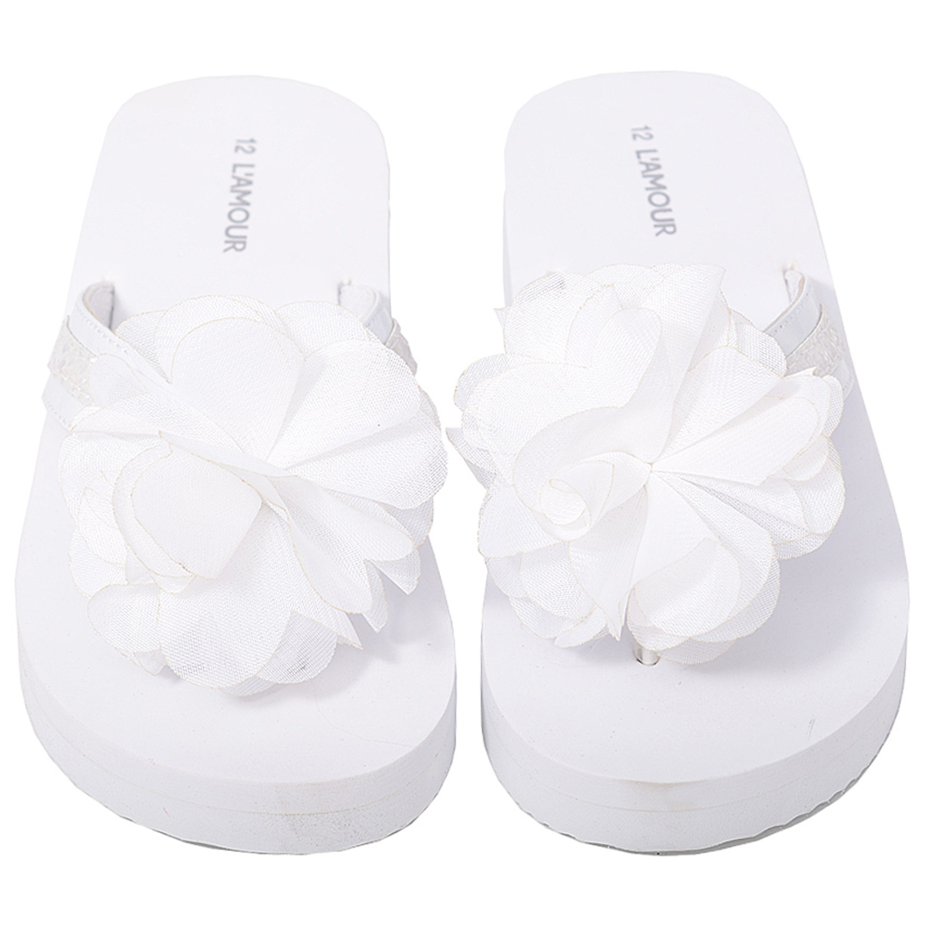 Lamour Glitter Strap Flower Flip Flops In White