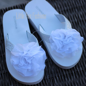 Lamour glitter strap flower flip flops in white quick view mightylinksfo