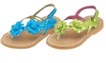 L'Amour Turquoise Blue Patent Flower Thongs