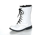Jelly Beans Lace-Up Boot in White Patent