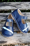 Foxy Feet Squeaky Shoes-Bitty Bow Mary Jane in Navy/Light Blue