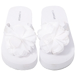 L'Amour Glitter Strap Flower Flip Flops in White