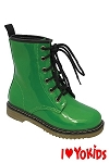 Yokids Lace-Up Boot in Green Patent