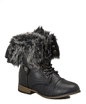 Link Black Lace-Up Boots with Turn Down Fur Cuff
