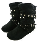 Link Black Studded Slouch Mid Calf Boots