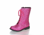 Jelly Beans Lace-Up Boot in Fuchsia Sparkle