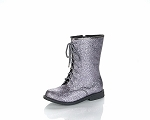 Jelly Beans Lace-Up Boot in Pewter Sparkle
