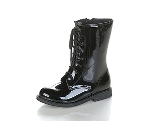 Jelly Beans Lace-Up Boot in Black Patent