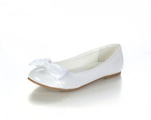 Jelly Beans White Bow Ballet Flats