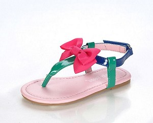 Jelly Beans Blue/Green Multi Bow Thong Sandals