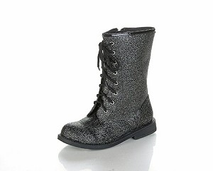 Jelly Beans Lace-Up Boot in Black Sparkle