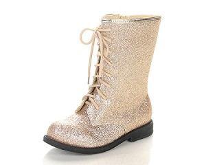 Jelly Beans Lace-Up Boot in Gold Sparkle
