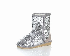 Jelly Beans Boot in Silver Sequin