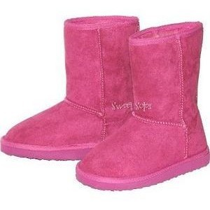 Link Fuchsia Faux Suede Slip On Boots (Size 9-4Y)