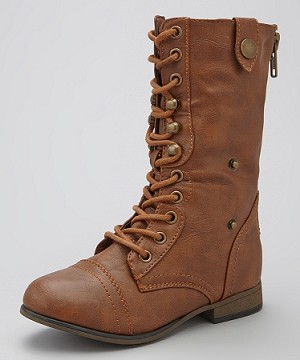 Link Tan Lace-Up Boots with Turn Down Cuff