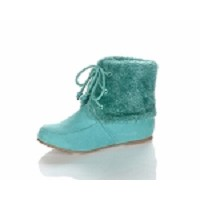 Jelly Beans Lace-Up Fur Ankle Boot in Sea Green