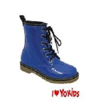 Yokids Lace-Up Boot in Blue Patent