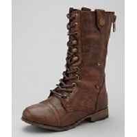 Link Brown Lace-Up Boots with Turn Down Cuff